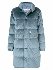 Tu es mon TRÉSOR zipped padded coat - Blue