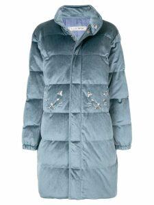 Tu es mon TRÉSOR zipped padded coat - Blue