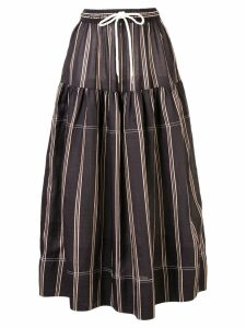 Lee Mathews striped midi skirt - Black