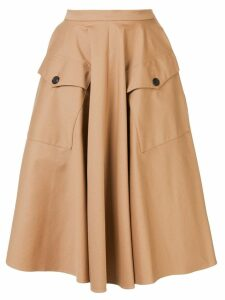 Rochas button pocket full skirt - Neutrals