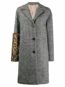 Nº21 leopard panel herringbone coat - Black