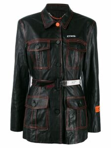 Heron Preston belted single-breasted coat - Black