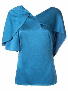 Peter Pilotto hammered satin drape top - Blue