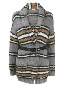 Brunello Cucinelli striped cardi-coat - Grey