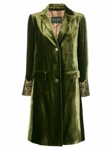 Etro embroidered cuff coat - Green
