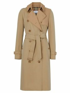 Burberry Two-tone Cotton Gabardine Trench Coat - Neutrals
