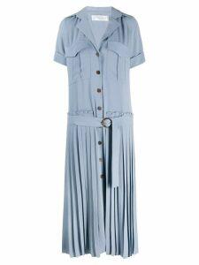 Victoria Beckham pleated long shirt dress - Blue
