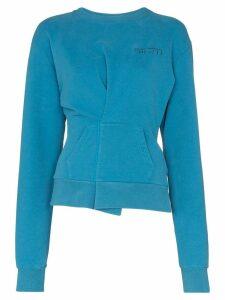 Unravel Project pin-tuck logo sweatshirt - Blue