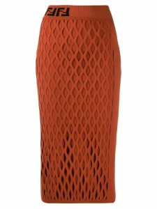 Fendi yarn mesh effect pencil skirt - ORANGE