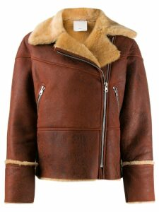 Sandro Paris fur-trimmed biker jacket - Brown