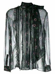 Valentino floral sheer blouse - Black