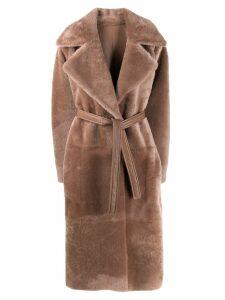 Blancha shearling midi coat - Neutrals
