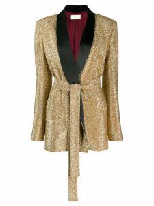 Sara Battaglia glitter detail blazer - Gold