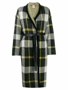 Nude belted checked coat - Green