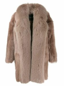 Blancha shearling oversized coat - Neutrals