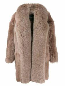 Blancha shearling oversized coat - Neutrals