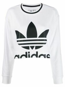 Adidas logo print cropped sweater - White