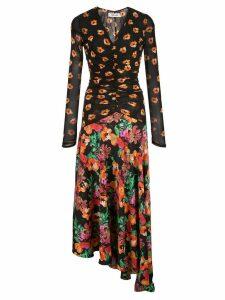 Diane von Furstenberg floral print asymmetric dress - Black