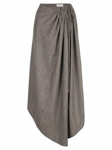 Co asymmetric checked skirt - Brown