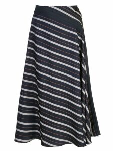 Palmer / Harding diagonal striped midi skirt - Blue