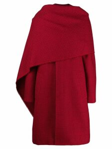 Balenciaga Houndstooth Scarf Coat - Red