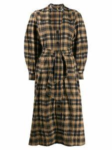 Ganni cut out check shirt dress - Brown