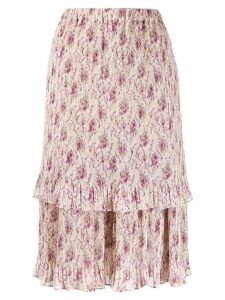 Junya Watanabe high-waisted tiered skirt - NEUTRALS