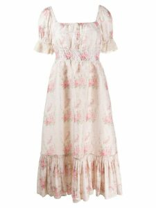 Love Shack Fancy floral print Terrence dress - Neutrals