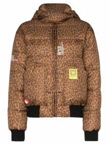 R13 x Brumal leopard print puffer jacket - Brown