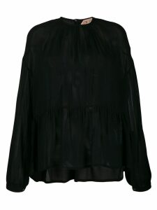 Nº21 lightly pleated sheer blouse - Black