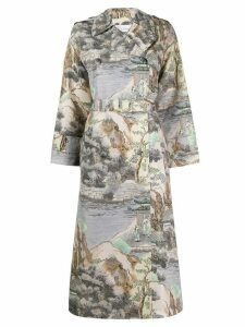Red Valentino printed oversized coat - NEUTRALS