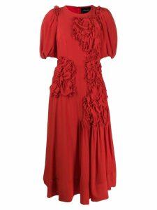 Simone Rocha floral apliqué midi dress - Red