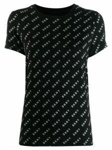 DKNY diagonal logo print T-shirt - Black