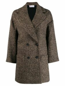 Red Valentino double-breasted herringbone coat - Brown