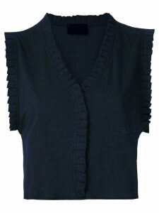 Andrea Bogosian pleated trim Poncho blouse - Black