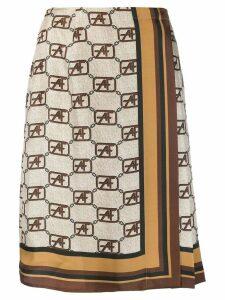 Alberta Ferretti logo print midi skirt - Neutrals