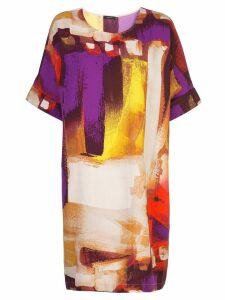 Natori short brushstroke print dress - Multicolour