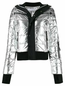 Paco Rabanne printed logo puffer jacket - Silver