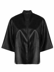Natori faux-leather kimono jacket - Black