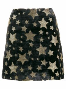 Ultràchic star print velvet skirt - Black