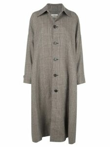 Co checked wool blend coat - Brown
