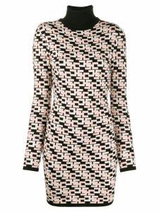 Elisabetta Franchi geometric pattern knitted shirt dress - Pink