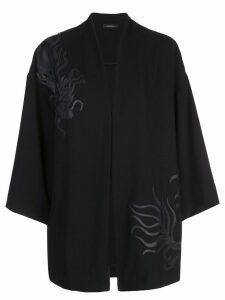 Natori dragon appliqué kimono - Black