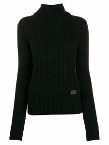 be blumarine roll neck cable knit sweater - Black