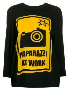 Ultràchic Paparazzi print top - Black
