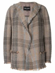 Giorgio Armani plaid fitted blazer - Brown