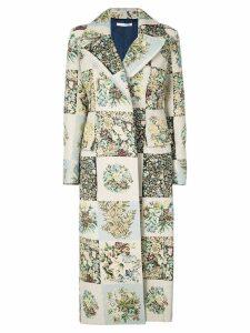 Oscar de la Renta patchwork midi coat - Multicolour