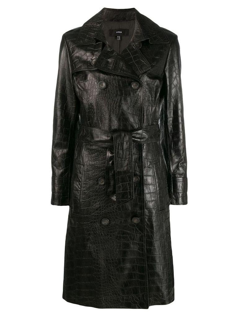 Arma crocodile effect double-breasted coat - Black