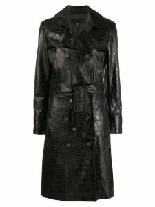 Arma crocodile effect double-breasted coat - Black