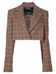 Oscar de la Renta checked print cropped jacket - Brown